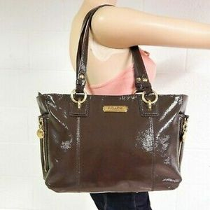 💕Coach Patent Leather Brown Tote Handbag